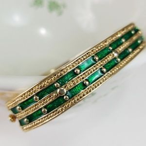 Vintage Green enamel bangle bracelet.